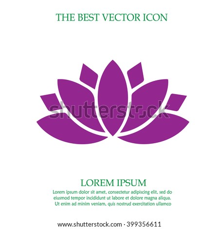 Lotus flower vector icon. Spiritual simple isolated sign symbol. - stock vector
