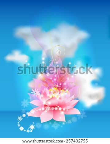 Lotus flower with clouds - stock vector