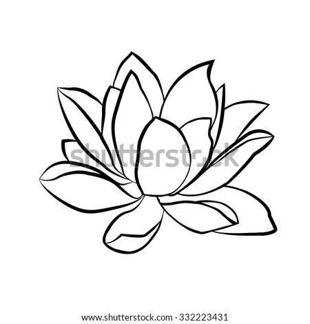 Lotus flowers icon. The black line drawn on a white background - stock vector