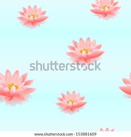 Lotus flowers seamless pattern. Vector illustration - stock vector