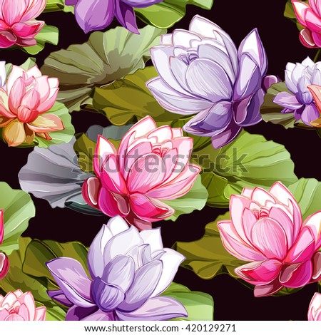Lotus flowers with leaves. Seamless background pattern. Hand drawn elements. Vector - stock. - stock vector