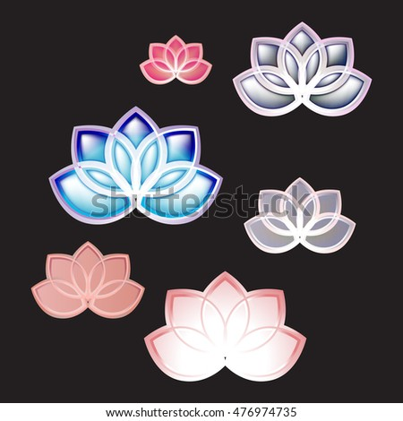lotus icon logo vector set