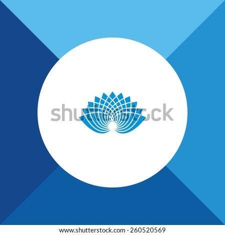 Lotus Icon on Blue Background. Eps-10. - stock vector
