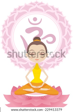 Lotus Meditating Posture Position on Lotus with Om Symbol vector illustration. - stock vector