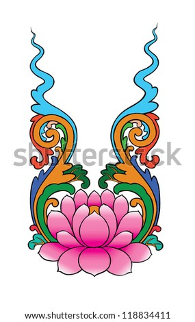 lotus painting chinese style on white background - stock vector