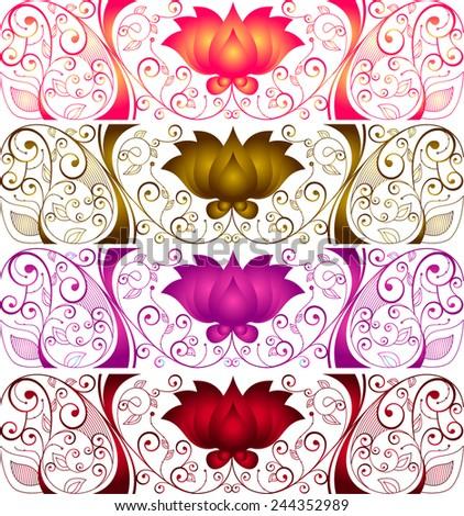 Lotus pattern - stock vector