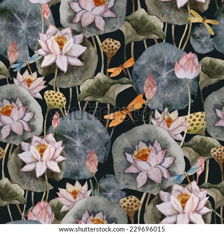 lotus, pattern, watercolor - stock vector