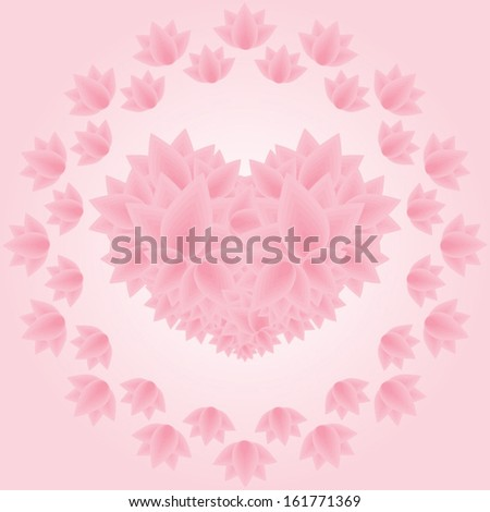 Lotus psychedelic concentric floral ornament with a heart inside vector illustration - stock vector