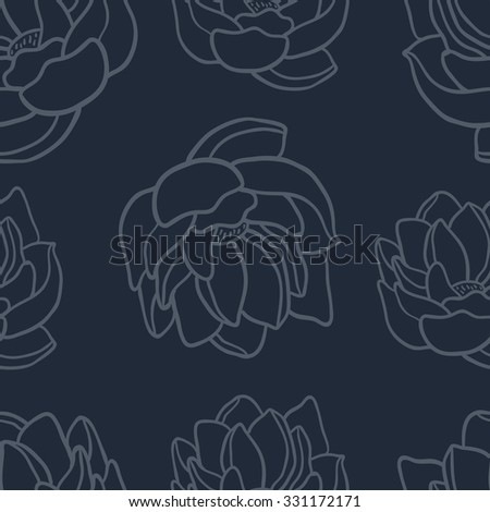 Lotus seamless vector pattern set.