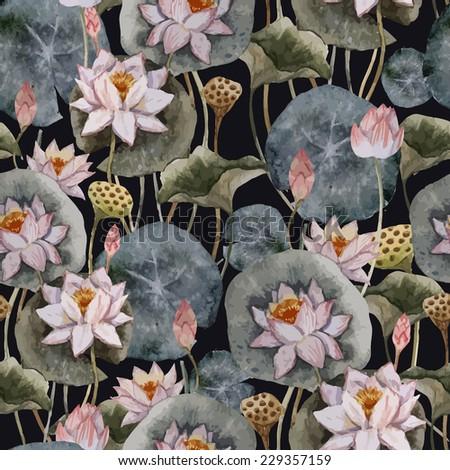 lotus, watercolor, pattern - stock vector