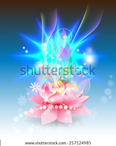 Lotus with abstract sun - stock vector