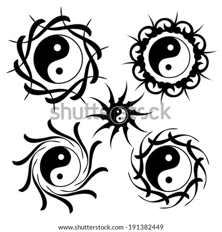 Lotus Yin Yang Sign . Japan abstract black circle. Vector - stock vector