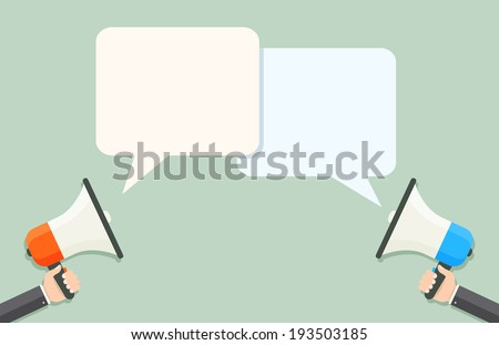 Loud speakers with speech bubbles eps8 - stock vector