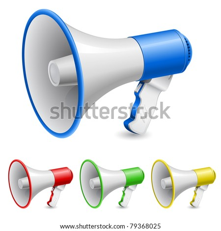 Loudspeaker as announcement icon. Illustration on white - stock vector