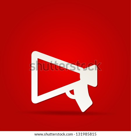 loudspeaker as announcement icon on isolated on red - stock vector