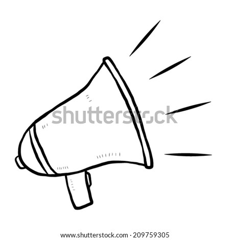loudspeaker / cartoon vector and illustration, black and white, hand drawn, sketch style, isolated on white background. - stock vector