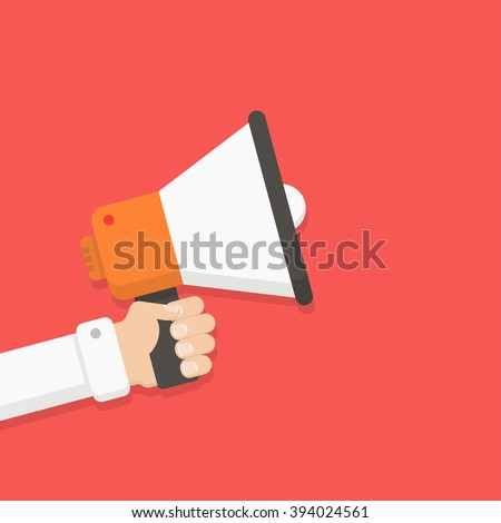 Loudspeaker in a man's hand. Alert, announcement, warning, advertising concept. Talking, shouting in loudspeaker. Loudspeaker and hand in flat style. Loudspeaker with hand vector illustration.  - stock vector