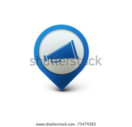 Loudspeaker, megaphone, speaker. Vector icon illustration. - stock vector
