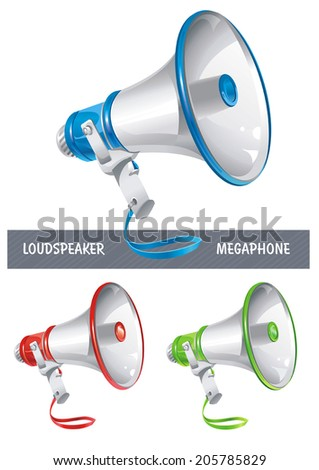 Loudspeaker or megaphone icon isolated on white background - stock vector