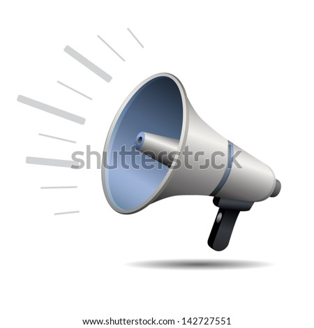 Loudspeaker or megaphone icon isolated on white background. Stylized vector icon - stock vector