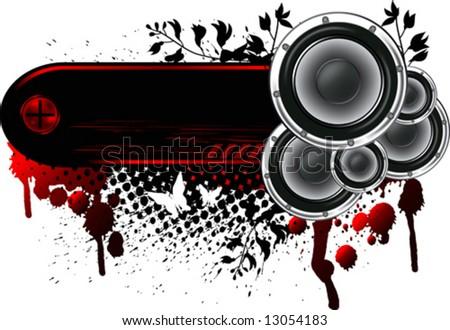 Loudspeakers Banner Grunge - stock vector