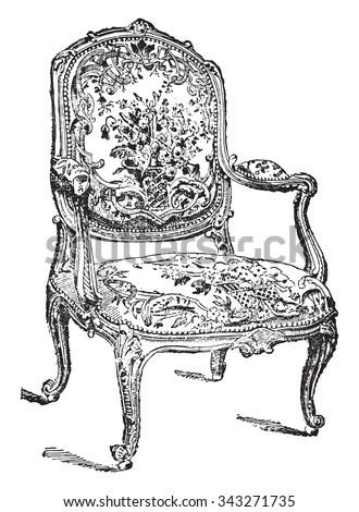 Louis-five chair, vintage engraved illustration. Industrial encyclopedia E.-O. Lami - 1875. - stock vector