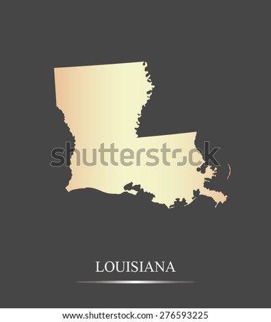 Louisiana map outlines in an abstract grey background, a black and white map of State of Louisiana in USA - stock vector