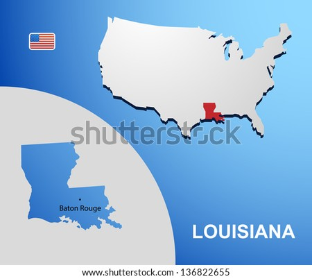 Louisiana on USA map with map of the state