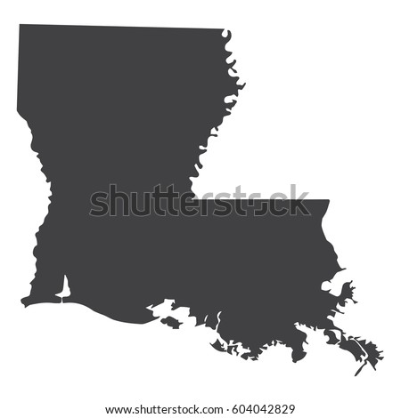 louisiana state map in black on a white background vector illustration