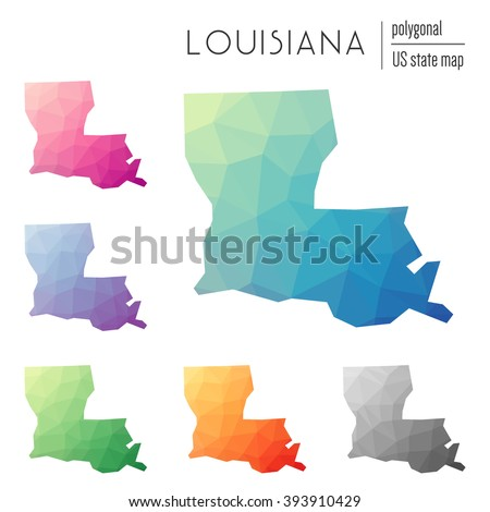 Louisiana state map in geometric polygonal style. Set of Louisiana state maps filled with abstract mosaic, modern design background. Multicolored state map in low poly style. - stock vector
