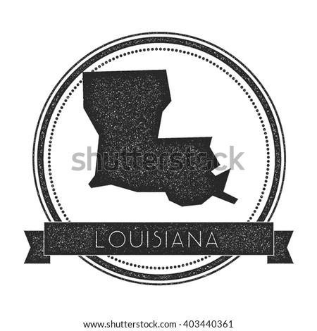 Louisiana Vector Map Stamp Retro Distressed Insignia With Us State Map Hipster Round Rubber