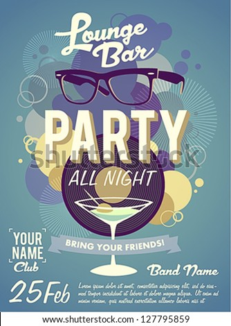 Lounge bar party poster - stock vector