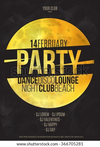 Lounge bar party poster vector background with moon - stock vector
