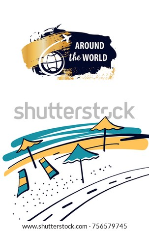 Lounge deck chair with umbrella on beach seaside.Template logotype, banner,  poster for