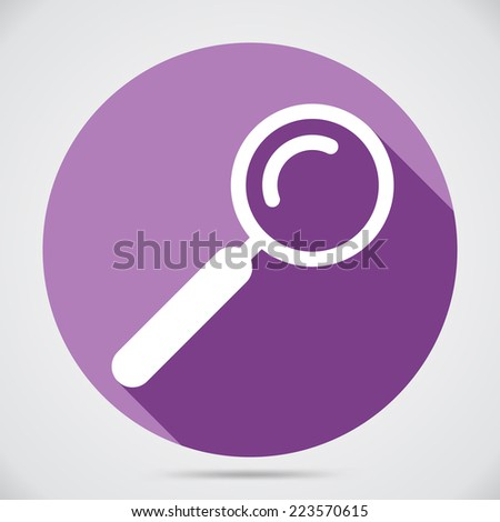 Loupe icon. Search icon. Flat style. Violet circle. For web sites and app - stock vector