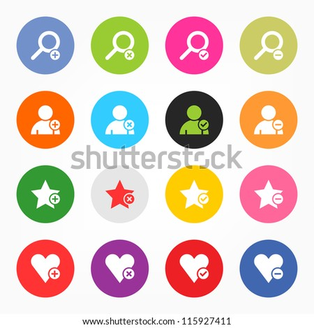 Loupe, user profile, star favorite, heart bookmark icon with plus, delete, check mark and minus sign. 16 popular colors circle shape internet button on gray background. Vector illustration 8 eps - stock vector
