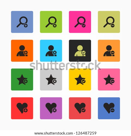 Loupe, user profile, star favorite, heart bookmark icon with plus, delete, check mark and minus sign. Black on color. 16 rounded square web internet button. Vector illustration 8 eps - stock vector