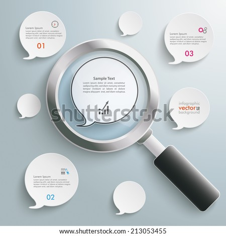 Loupe with white speech bubbles on the grey background. Eps 10 vector file. - stock vector