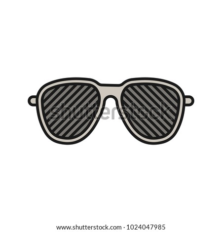 Louvered sunglasses color icon. Stripped spectacles. Shutter shades. Isolated vector illustration