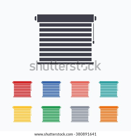 Window Blinds Or Jalousie Symbol Colored Flat Icons On White Background