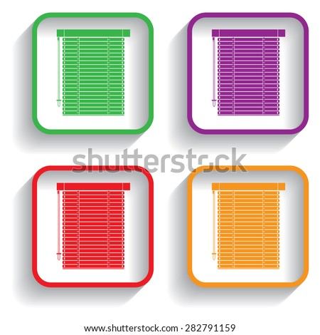 Louvers sign icon. Window blinds or jalousie symbol with shadow