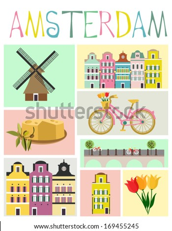 Love Amsterdam - stock vector