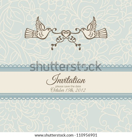 Love and birds: vector template for anniversary card, wedding ornament invitation. Elegant floral delicate blue background. - stock vector