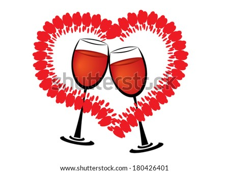 love and glasses of wine - stock vector