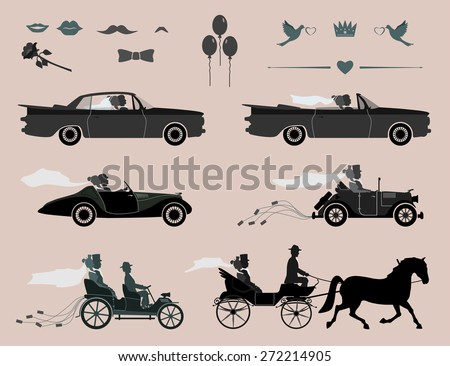 Love and happiness at all times. invitation to the wedding and celebration. the bride and groom went to different cars and in the crew. set for designers groups - stock vector