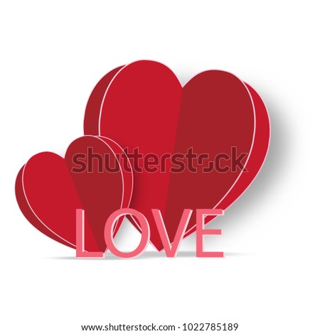 LOVE and HEART isolated on white as happy valentine's day, wedding and paper art concept. vector illustration.
