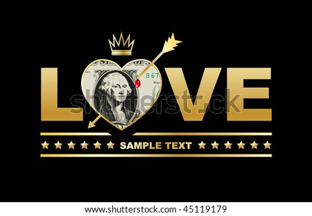 love and money concept - stock vector