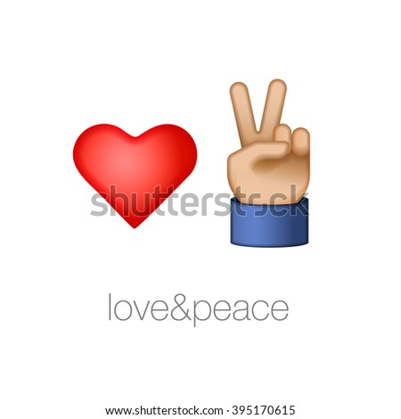 Love and peace icons, vector illustration. - stock vector