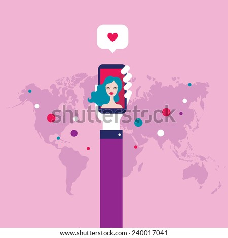 Love and Social Network concept St Valentines Day - stock vector