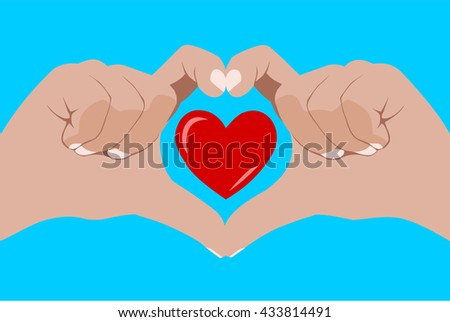 Love and union concept, hand forming a heart shape and framing a red heart on blue background for wedding and valentine's day cards - stock vector